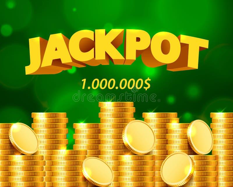 Jackpott miljon dollar i form av guld- mynt royaltyfri illustrationer