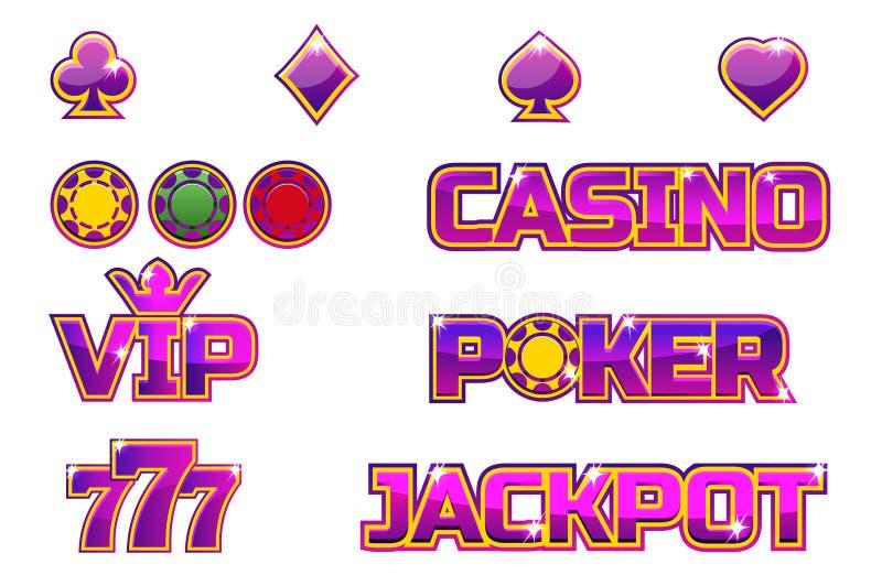 JACKPOTT, POKER, 777, KASINO och storgubbe för logo för vektoruppsättning purpurfärgad Guldchiper stock illustrationer