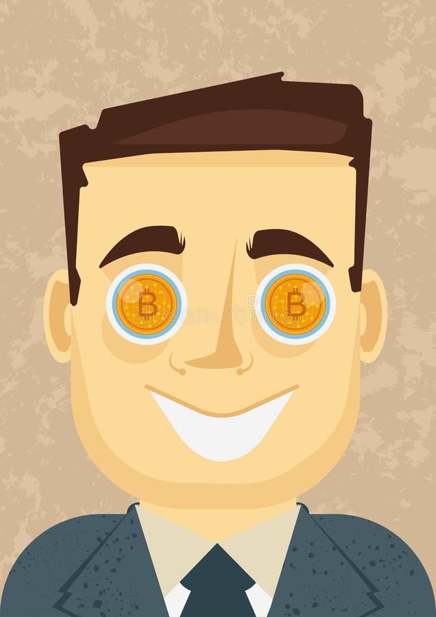 Jackpottet synar - när bitcoin eller annan cryptocurrency går upp royaltyfri foto