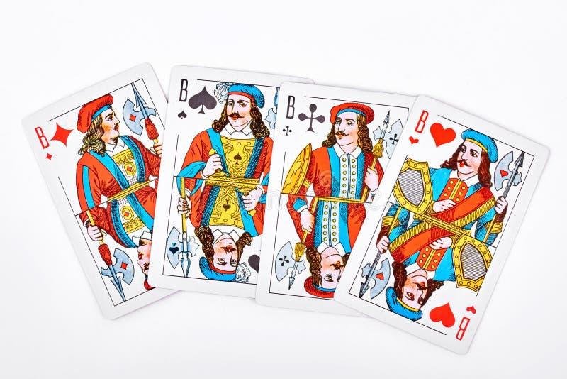 4 jacks от играя карточек стоковые изображения