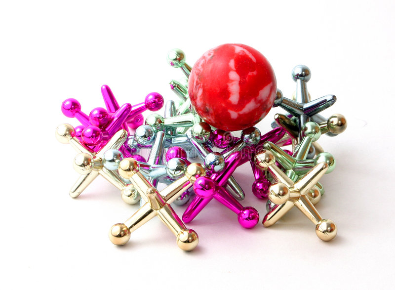 Download Jacks and Ball Over White stock image. Image of bunch, purple - 278951