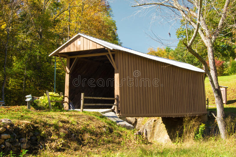 Jacks Creek Covered Bridge, Virginia, USA. The 48-foot oak constructed Jacks Creek Covered Bridge was built in 1914 by Charles Vaughan and designed by Walter royalty free stock image