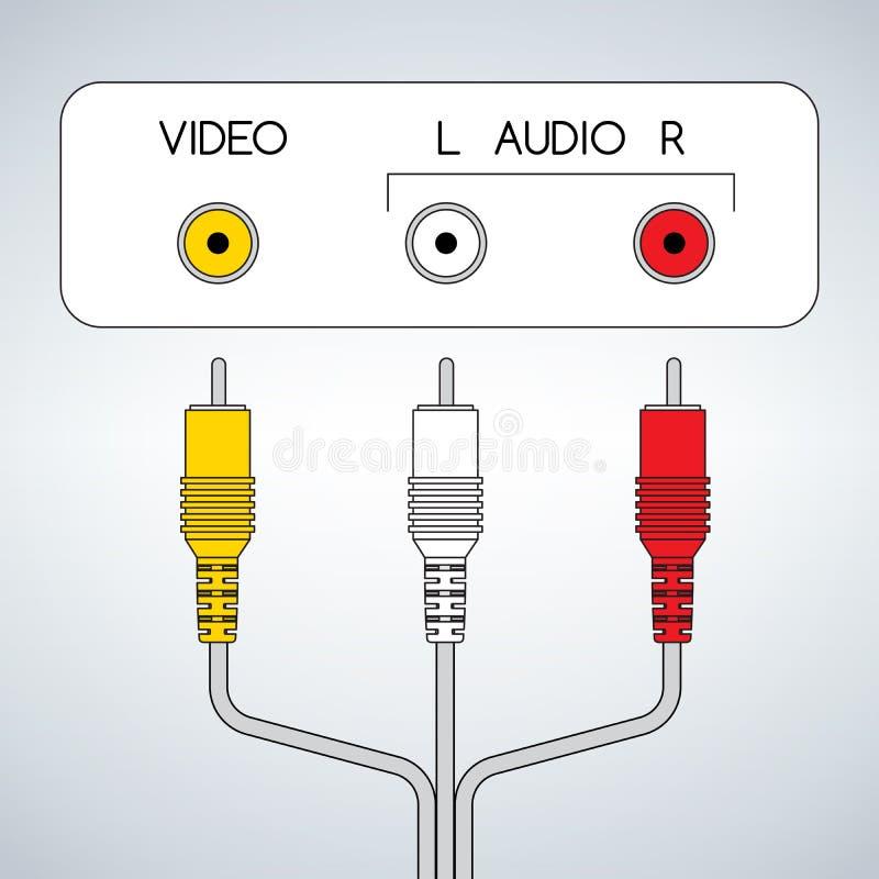 Jacks RCA входного сигнала тональнозвуковые видео- с кабелем иллюстрация штока