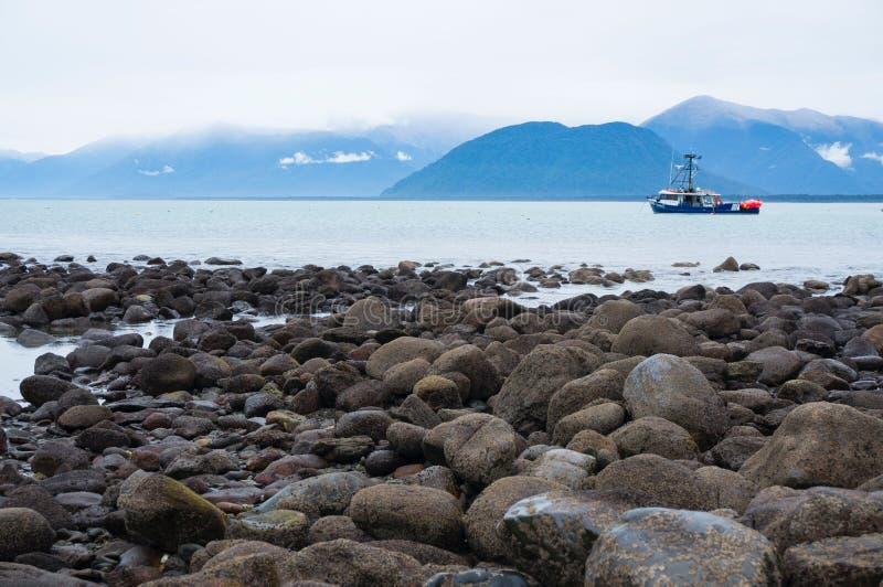 Jackson Bay, Boat, New Zealand, South Island royalty free stock photos