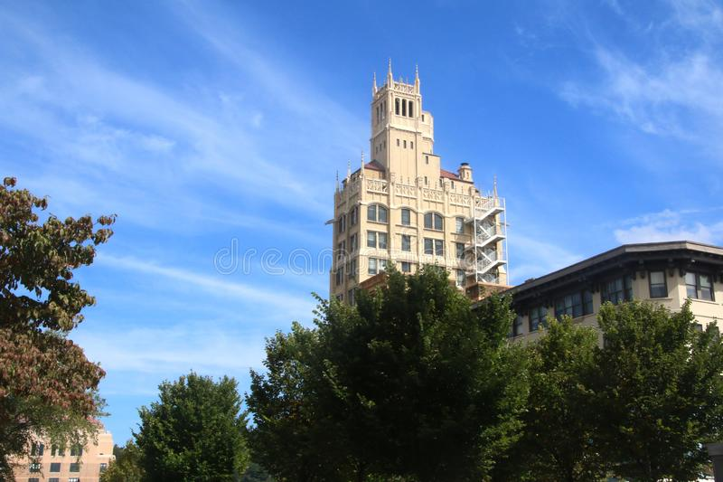 Jackson Building in Downtown Asheville, North Carolina. On a Clear Summer Day royalty free stock photo