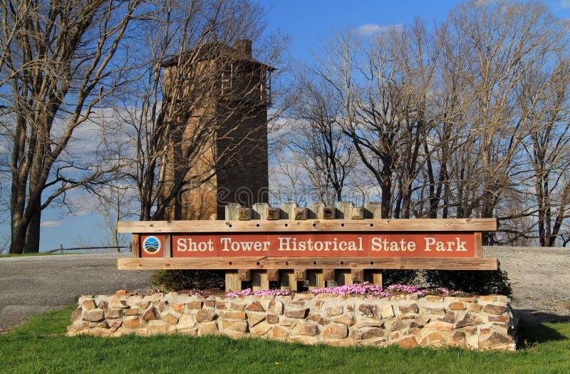 Jackson Ferry Shot Tower in de Staat van Virginia stock afbeeldingen