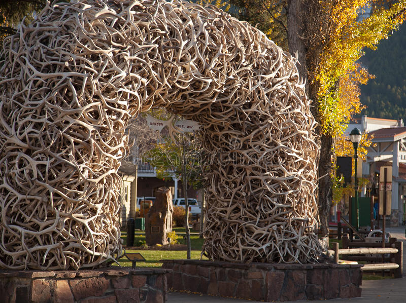 Jackson Hole Antler Arch stock images