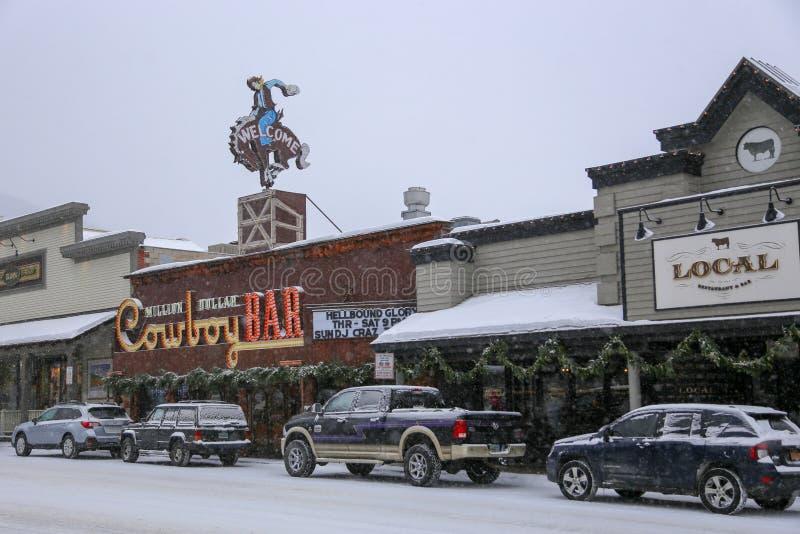 Jackson Hole Wyoming Cowboy Bar du centre pendant la tempête de neige d'hiver photos libres de droits