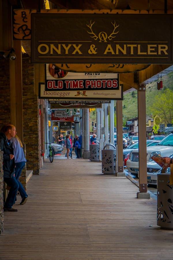 JACKSON HOLE, WYOMING, ETATS-UNIS - 23 MAI 2018 : Vue extérieure de million de cowboy légendaire Bar du dollar au centre de Jacks photos stock