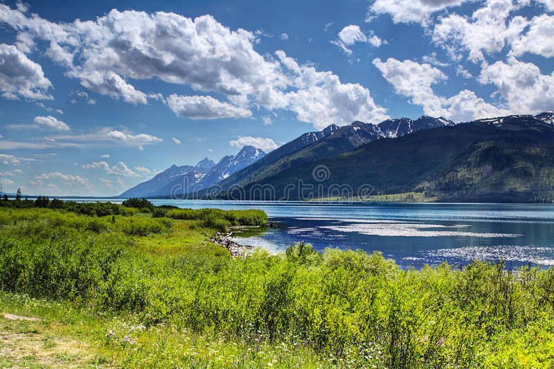 Jackson Lake storslagen Teton nationalpark Wyoming USA royaltyfria foton
