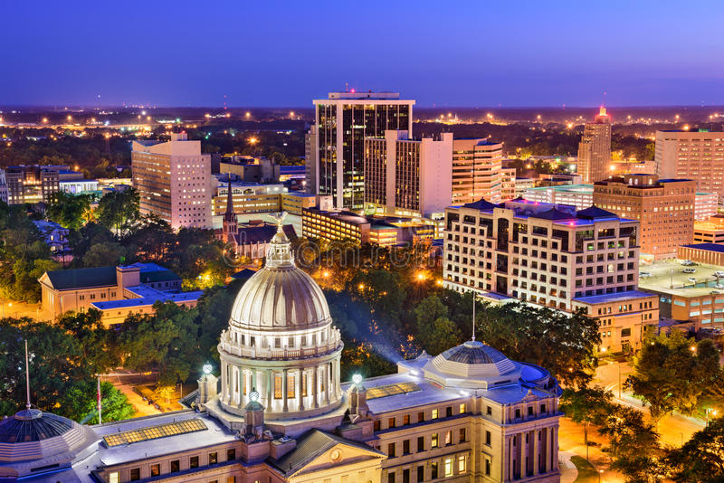 Jackson Mississippi Skyline royalty-vrije stock foto's