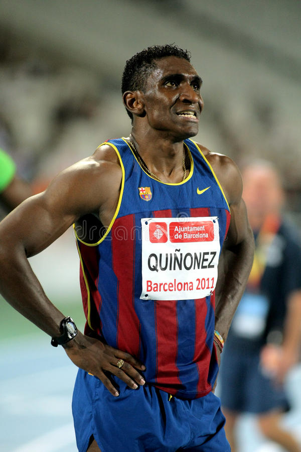 Jackson Quinonez of FC Barcelona. Jackson Quinonez athlete of FC Barcelona watch to the scoreboard after of 110m hurdles Event of Barcelona Athletics meeting at stock image