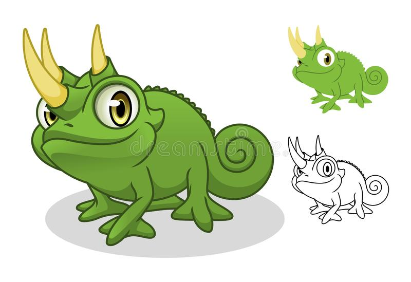 Jackson`s Chameleon Cartoon Character Mascot Design royalty free illustration