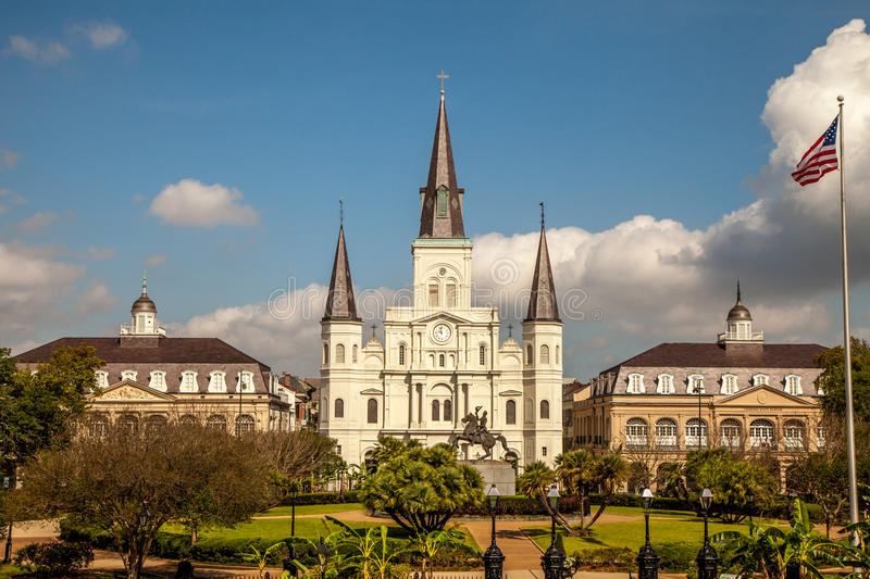 Jackson Square New Orleans. View across Jackson Square looking at the cathedral and state museums in New Orleans stock photo