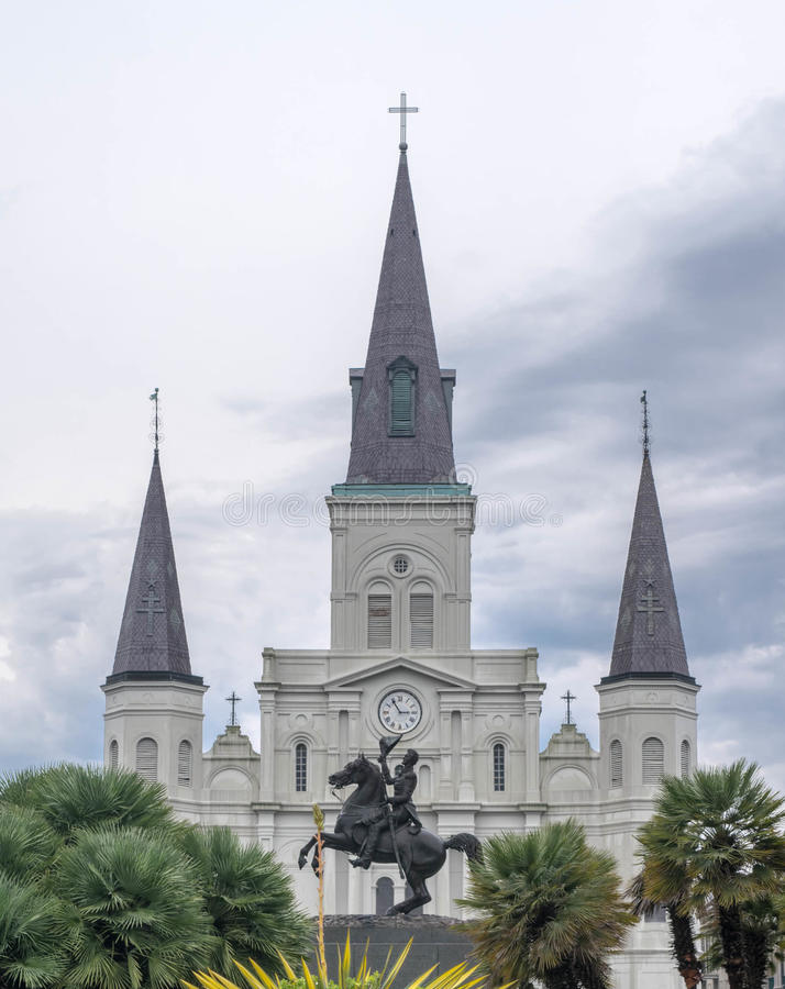 Jackson Square, Nieuwe Orléans-Andrew Jackson Statue, St Louis Cathedral stock foto