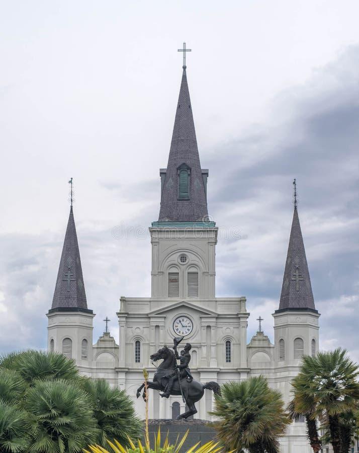 Jackson Square, nuevo Orleans-Andrew Jackson Statue, St Louis Cathedral foto de archivo