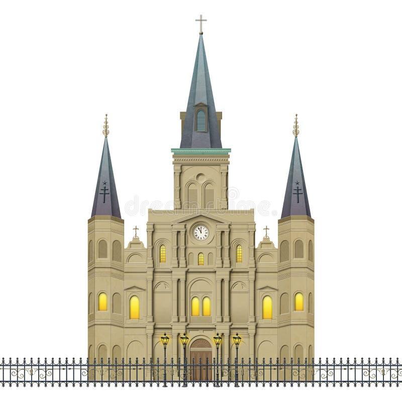 Jackson Square St Louis Cathedral la Nouvelle-Orléans illustration stock