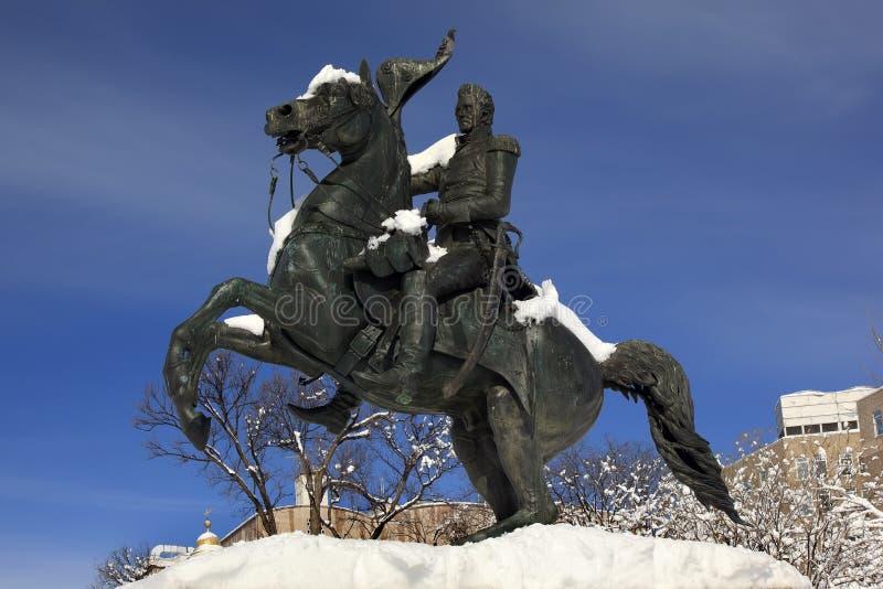 Jackson Statue Lafayette Park Snow Washington DC royalty free stock photography