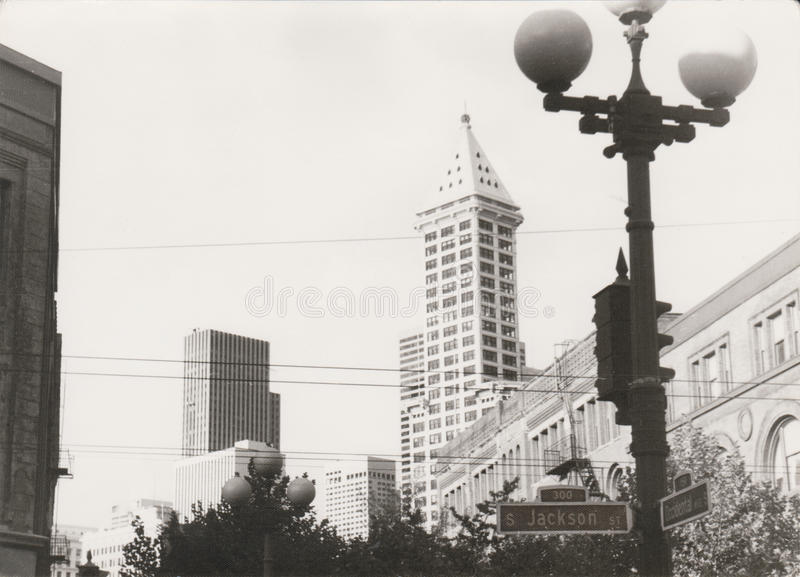 In 1982 Jackson Street in Seattle, Washington state, USA. Photo scanned from old paper photography stock photo