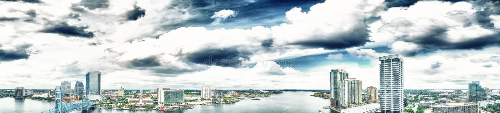 Jacksonville aerial panoramic view at dusk, Florida.  royalty free stock photography