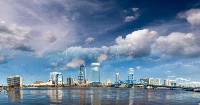 Jacksonville beautiful skyline, panoramic city view at sunset - stock images