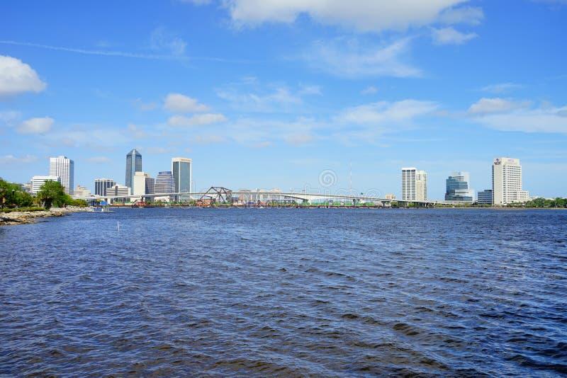 Jacksonville City and st johns river. Landscape of Jacksonville city and st johns river in Florida, USA stock photos