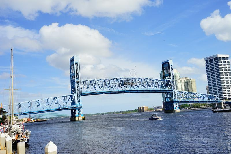 Jacksonville City and st johns river. Landscape of Jacksonville city and st johns river in Florida, USA stock images