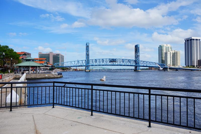 Jacksonville downtown draw bridge. A big drawbridge taken in Jacksonville, florida stock photos