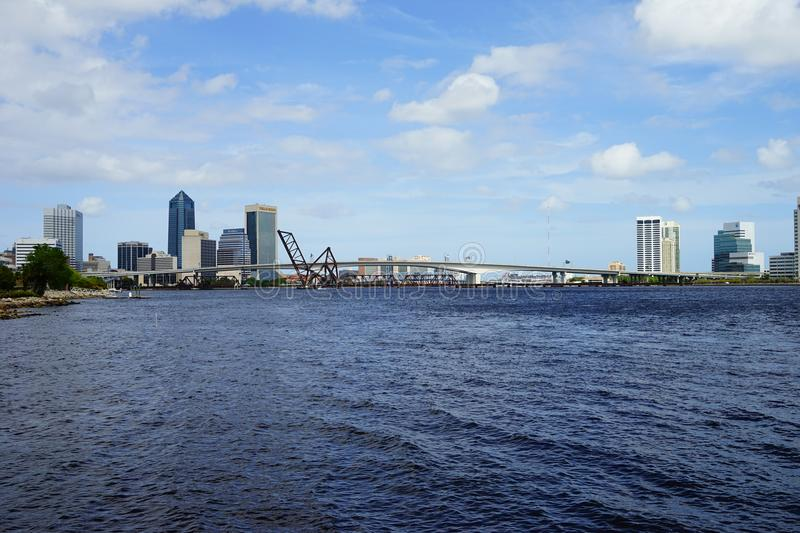 Jacksonville downtown and st johns river. Landscape of Jacksonville downtown in Florida, USA royalty free stock photo