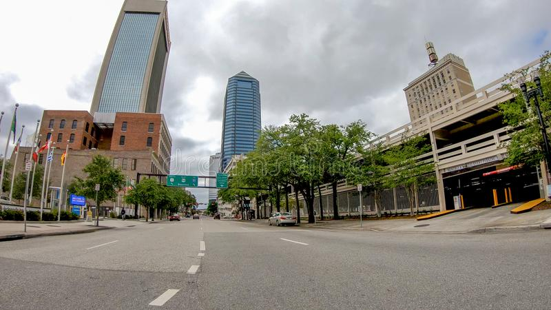 JACKSONVILLE, FL - APRIL 8, 2018: City streets on a spring day. The city is a major attraction in Florida royalty free stock photography