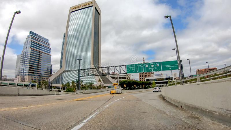 JACKSONVILLE, FL - APRIL 8, 2018: Main Street Bridge as seen fro. M a moving car. The city is a major attraction in Florida stock photo