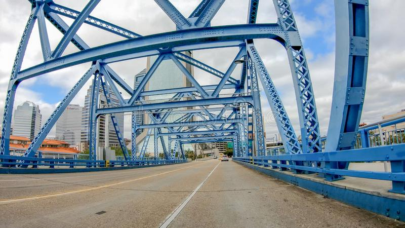 JACKSONVILLE, FL - APRIL 8, 2018: Main Street Bridge as seen fro. M a moving car. The city is a major attraction in Florida royalty free stock photography