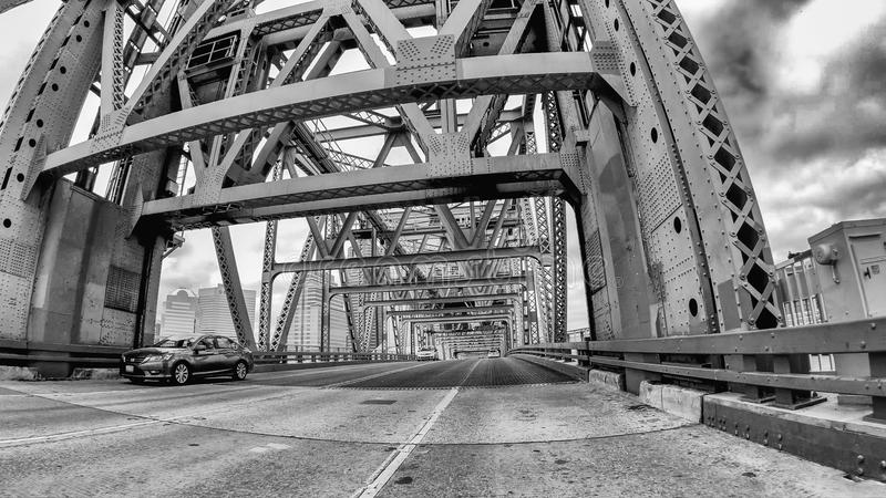JACKSONVILLE, FL - APRIL 8, 2018: Main Street Bridge as seen fro. M a moving car. The city is a major attraction in Florida stock photos