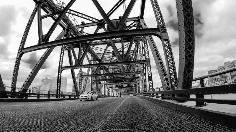 JACKSONVILLE, FL - APRIL 8, 2018: Main Street Bridge as seen fro. M a moving car. The city is a major attraction in Florida stock images