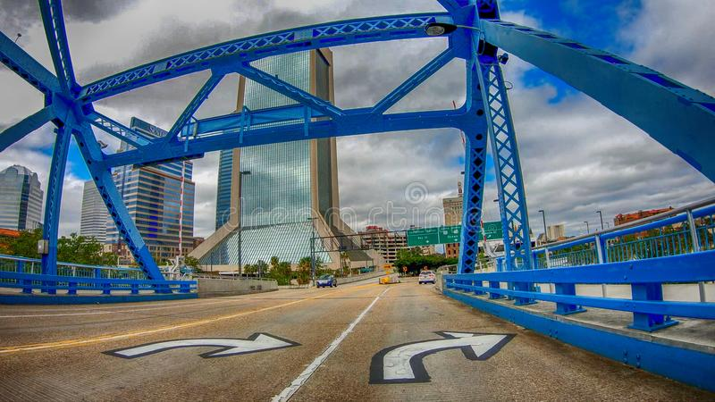 JACKSONVILLE, FL - APRIL 8, 2018: Main Street Bridge as seen fro. M a moving car. The city is a major attraction in Florida royalty free stock photos