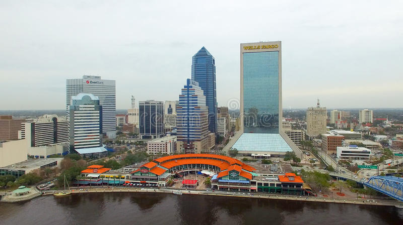 JACKSONVILLE, FL - FEBRUARY 2016: Aerial city view on a cloudy d. Ay. Jacksonville is a major attraction in Florida stock photos