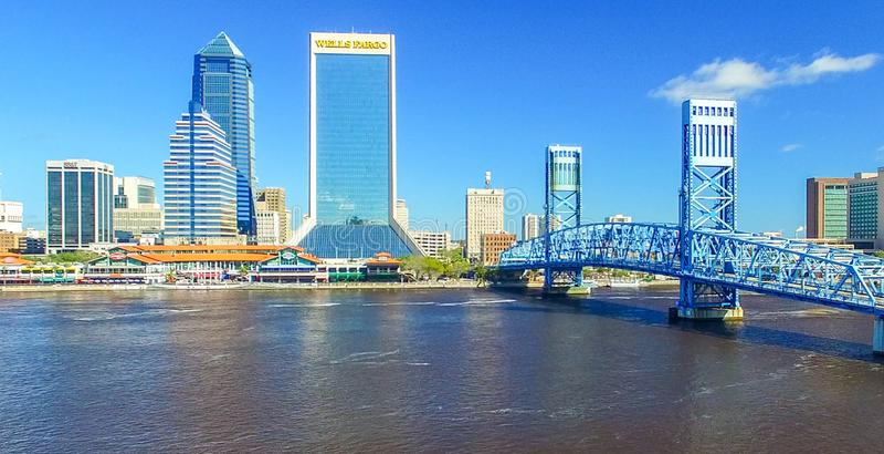 JACKSONVILLE, FL - FEBRUARY 2016: Aerial city view. Jacksonville royalty free stock photos