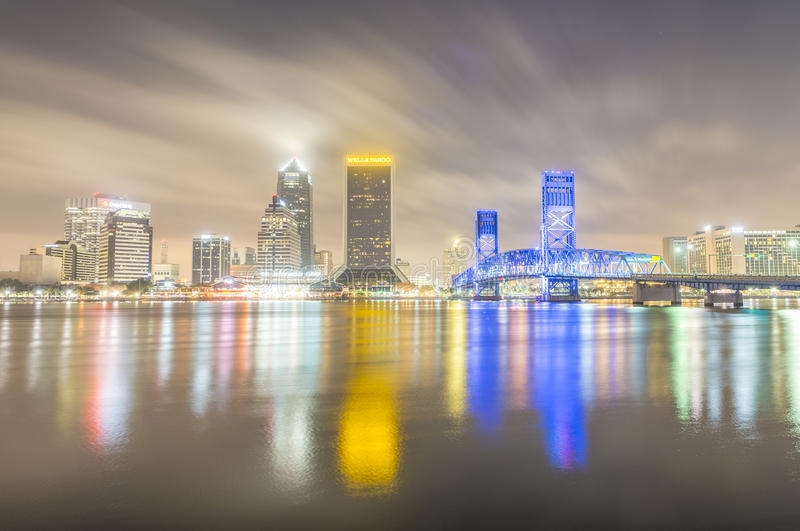 JACKSONVILLE, FL - FEBRUARY 2016: Beautiful buildings night reflections. Jacksonville is a famous destination in Florida royalty free stock photos