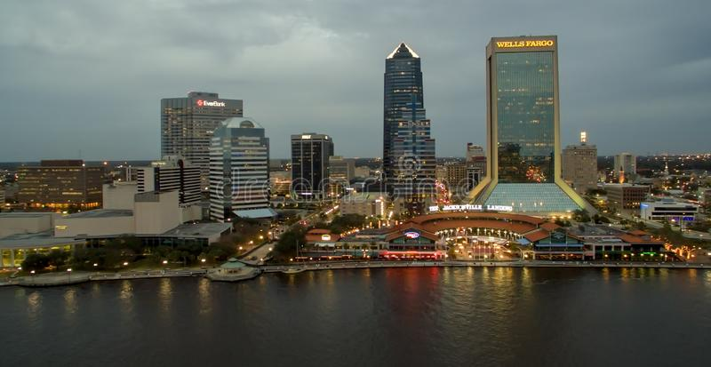 JACKSONVILLE, FL - FEBRUARY 2016: City aerial skyline at dusk. J. Acksonville attracts 5 million tourists every year stock photography