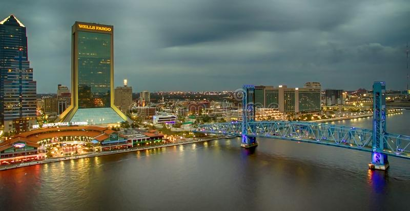 JACKSONVILLE, FL - FEBRUARY 2016: City aerial skyline at dusk. J. Acksonville attracts 5 million tourists every year royalty free stock photography