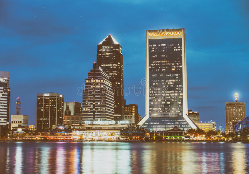 JACKSONVILLE, FL - FEBRUARY 15, 2016: City lights at night. Jack. Sonville is a famous destination in Florida royalty free stock images