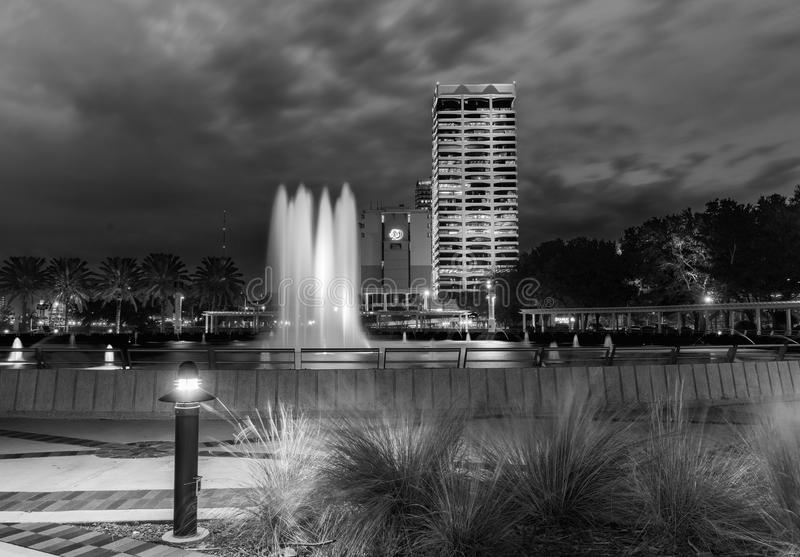 JACKSONVILLE, FL - FEBRUARY 15, 2016: City lights at night. Jack. Sonville is a famous destination in Florida royalty free stock photos