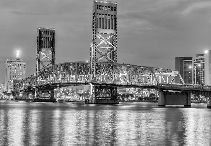 JACKSONVILLE, FL - FEBRUARY 15, 2016: City lights at night. Jack. Sonville is a famous destination in Florida royalty free stock photography
