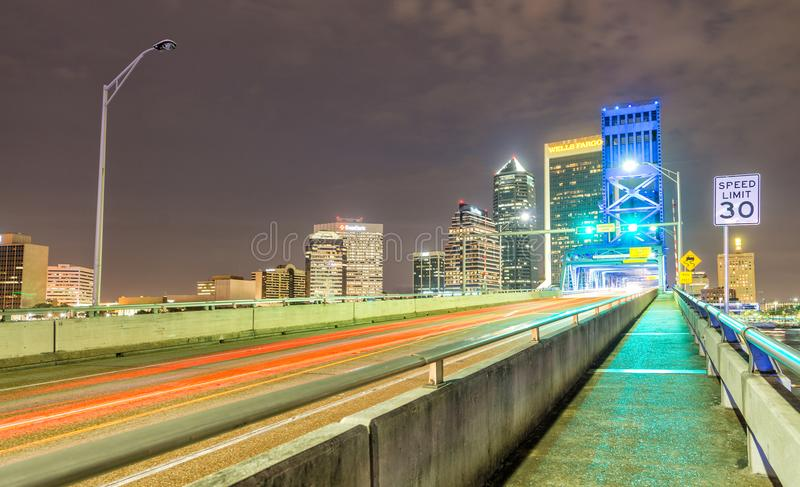 JACKSONVILLE, FL - FEBRUARY 15, 2016: Jacksonville skyline at ni. Ght from the bridge. The city attracts 5 million tourists every year royalty free stock photography
