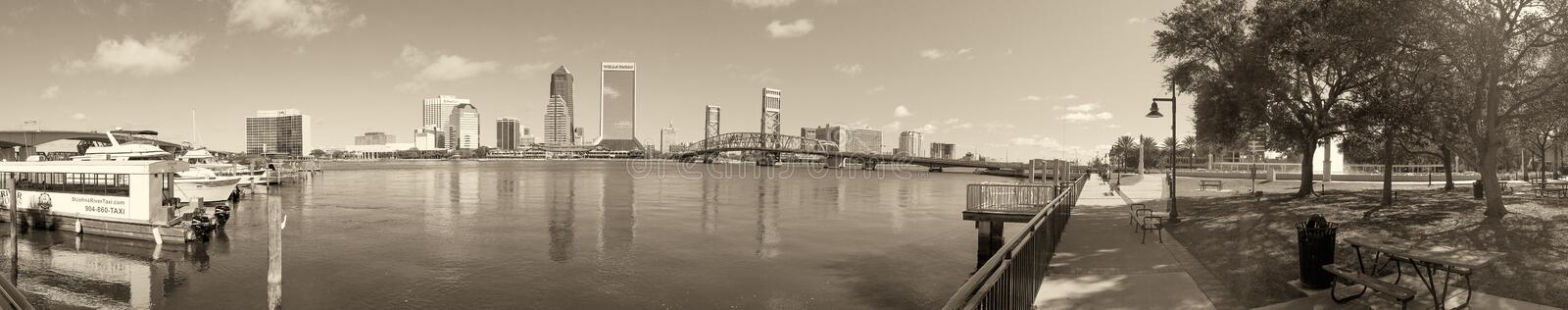JACKSONVILLE, FL - FEBRUARY 2016: Panoramic view of city skyline. With tourists. jacksonville is a famous Florida destination royalty free stock photo