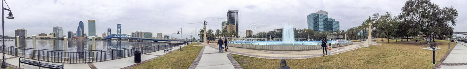JACKSONVILLE, FL - FEBRUARY 2016: Tourists walk along city streets. The city is a major attraction in Florida.  royalty free stock photo