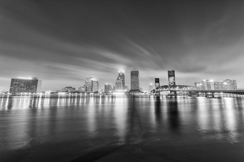 JACKSONVILLE, FL - JANUARY 2016: City skyline at night. This is. A famous attraction in Florida stock image