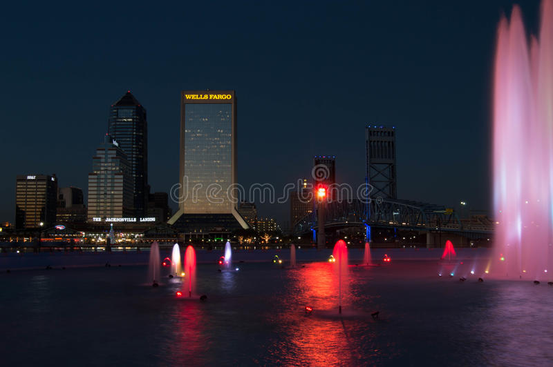 Jacksonville, FL Nightscape with Friendship Fountain stock photography