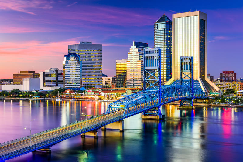 Jacksonville, FL Skyline stock photography