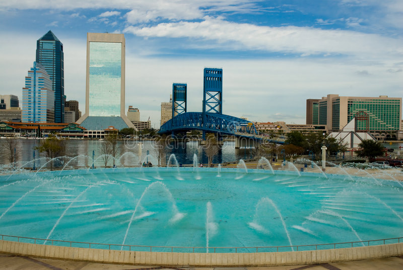 Jacksonville Florida. Scenic View of Jacksonville Florida from Hendricks Point Park showing Main Street Bridge and Fountain royalty free stock photo